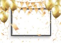 フォトフレームと金のパーティーフラッグと風船