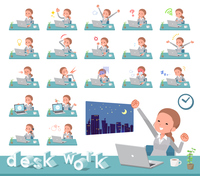 flat type Behind knot hair women_desk work