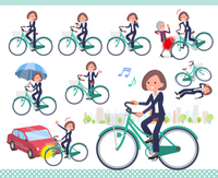 flat type Black jacket pants business women_city cycle