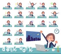 flat type Black jacket pants business women_desk work