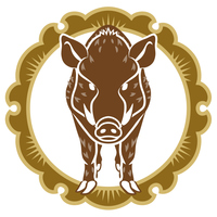 イノシシと輪飾り 正面 2019年 干支 年賀状素材