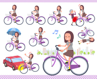 flat type Long hair women_city cycle