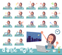flat type Long hair women_desk work