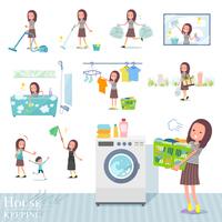 flat type Long hair women_housekeeping