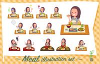 flat type Long hair women_Meal