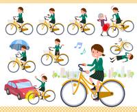 flat type school girl Green Blazer_city cycle