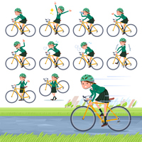flat type school girl Green Blazer_road bike