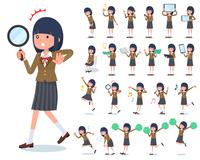 flat type school girl Brown Blazer_Action