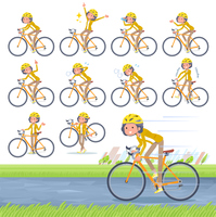 flat type Yellow jacket Middle women_road bike