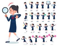 flat type school girl Sailor suit_Action