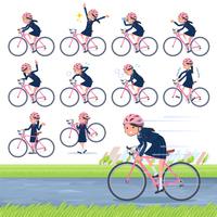 flat type school girl Sailor suit_road bike