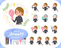 flat type Short hair women_beauty