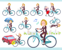 flat type blond hair business women_city cycle