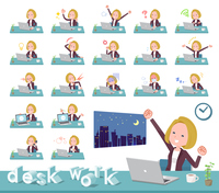 flat type blond hair business women_desk work