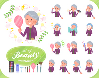 flat type Purple clothes grandmother_beauty
