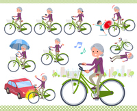 flat type Purple clothes grandmother_city cycle