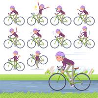 flat type Purple clothes grandmother_road bike