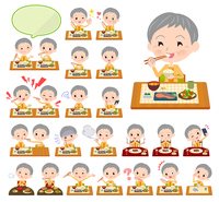 short hair old women_Meal