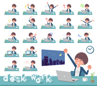 flat type Mash hair women_desk work