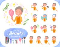 flat type short hair old women_beauty