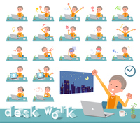 flat type short hair old women_desk work