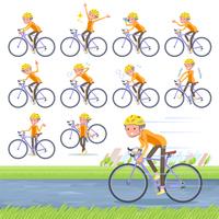 flat type short hair old women_road bike