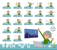 flat type green shirt old women_desk work