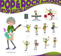 flat type green shirt old women_pop music
