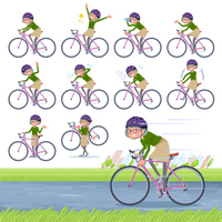flat type green shirt old women_road bike