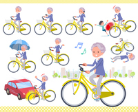 flat type blue one piece old women_city cycle