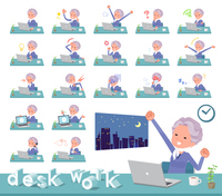 flat type blue one piece old women_desk work