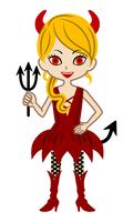 悪魔の衣装を着た女の子 - ハロウィン素材