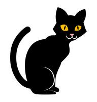 座っている黒猫 - ハロウィン素材