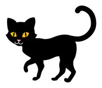 歩く黒猫 - ハロウィン素材