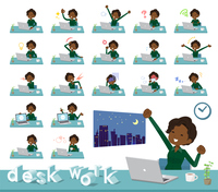 flat type business black women_desk work