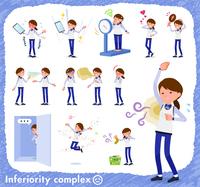 flat type Store staff Blue uniform women_complex