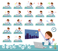 flat type Store staff Blue uniform women_desk work