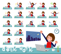 flat type Store staff red uniform women_desk work