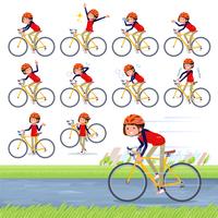 flat type Store staff red uniform women_road bike