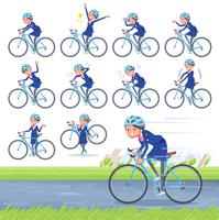 flat type Cabin attendant blue woman_road bike