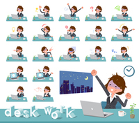 flat type Gray suit business women Bad condition_desk work