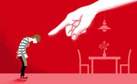巨大な手に指さされる主婦 - DV・モラハラ