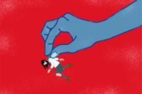 巨大な手に摘まれる女学生 - いじめ・パワハラ