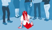 泣く女性被害者 偏見 - セカンドレイプ コンセプトアート
