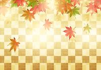 秋の紅葉と金色の市松背景