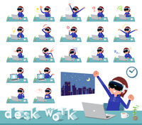 flat type VR goggle women_desk work