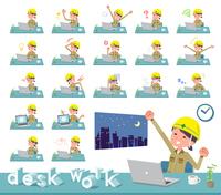 flat type helmet worker women_desk work