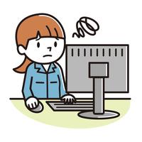 作業着 パソコン 女性 困る