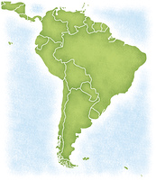 南アメリカ大陸とその周辺の地図