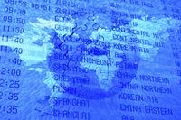 空港のタイムテーブルと世界地図の合成